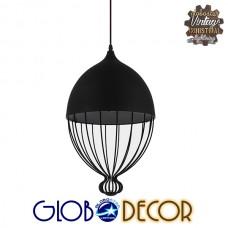 Vintage Κρεμαστό Φωτιστικό Οροφής Μονόφωτο Μαύρο Μεταλλικό Πλέγμα Φ28 GloboStar CANARIO 01107