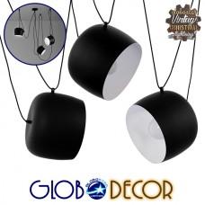 SET 3 Μοντέρνα Κρεμαστά Φωτιστικά Οροφής Μονόφωτα Μαύρα Λευκά Μεταλλικά Καμπάνα Φ25 GloboStar LACRIMA 01375
