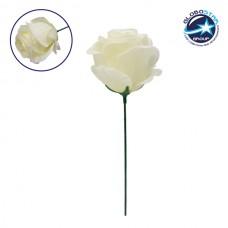 Τεχνητό Φυτό Διακοσμητικό Τριαντάφυλλο Λευκό M8cm x Υ20cm Π8cm GloboStar 09077